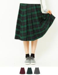 ティティベイト ミディアム丈チェック柄プリーツスカート