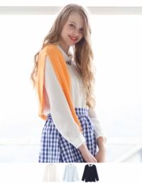 ティティベイト 衿カフス異素材ブラウス