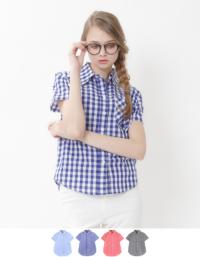 ティティベイト 【紗栄子★着用アイテム】ギンガムチェック半袖シャツ