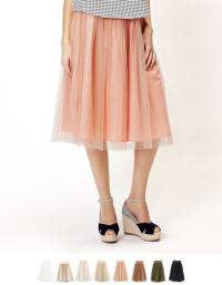 ティティベイト ウエストリボン チュールロングスカート/チュールスカート