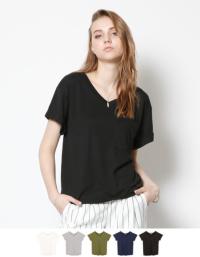 ポケットVネックTシャツ【メール便可/30】