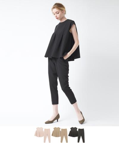 タックブラウスプルオーバー&パンツセットアップ【メール便可/100】【ファッション・アパレル レディースその他】/大人女性へおすすめスタイルを提案するプチプラカジュアル通販のティティベイト(titivate) 公式通販/titivate(ティティベイト)/AOXP1055/aoxp1055