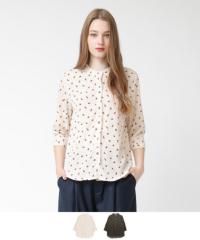 スタンドカラーリーフ柄ブラウス【メール便可/50】【ファッション・アパレル レディースシャツ】/大人女性へおすすめスタイルを提案するプチプラカジュアル通販のティティベイト(titivate) 公式通販/titivate(ティティベイト)/AOWE0101/aowe0101