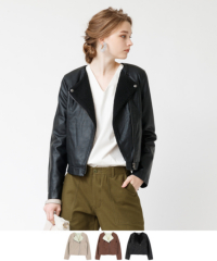 裏ボアノーカラーライダースジャケット【ファッション・アパレル レディースアウター】/大人女性へおすすめスタイルを提案するプチプラカジュアル通販のティティベイト(titivate) 公式通販/titivate(ティティベイト)/AOJR5573/aojr5573