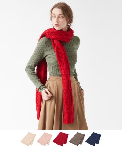 ケーブル編みストール