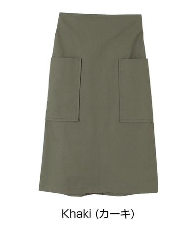 【titivate】ビッグポケット 台形スカート カーキ