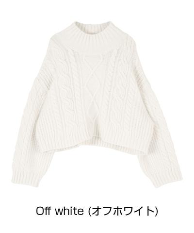 titivate ケーブル編み ショートニットプルオーバー
