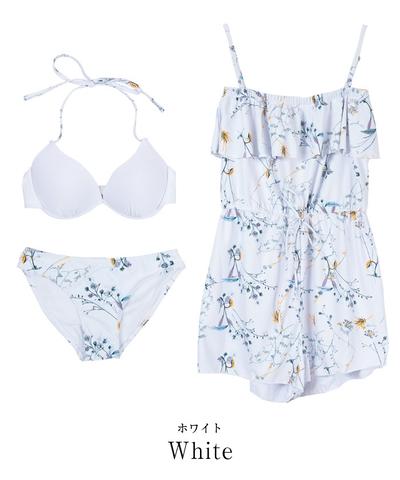 花柄 白 サロペット 30代 海